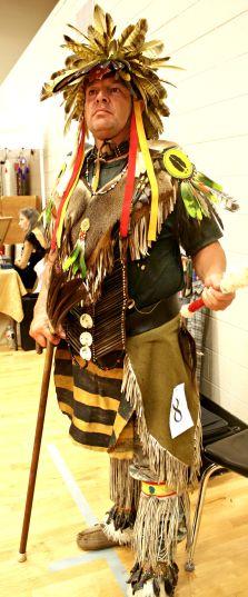 Tony Walkingstick, dressed as an Elite Warrior.