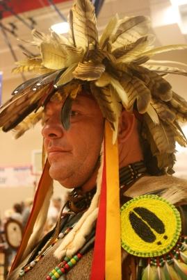 Tony Walkingstick, a Cherokee in the attire of an Elite Warrior
